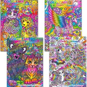 🦄 New Lisa Frank Adult Coloring Book Set 🌈